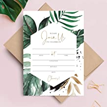 Bliss Collections 25 Tropical Greenery Invitations with Envelopes, 5x7 Invites for Bachelorette Party, Birthday, Bridal Shower, Baby Shower, Destination Wedding or Special Occasion
