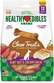 Nylabone Healthy Edibles All Natural Long Lasting Chew Treats Variety Pack, Roast Beef & Chicken Petite 34 Count (NE801VT3...