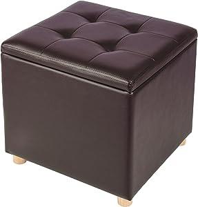 WOLTU Sitztruhe Aufbewahrungsbox Sitzwürfel mit Stauraum, Truhen, Gepolsterte Sitzfläche aus Kunstleder, Holzbeine, 40x40x40CM(BxTxH), Dunkelbraun, SH24dbr