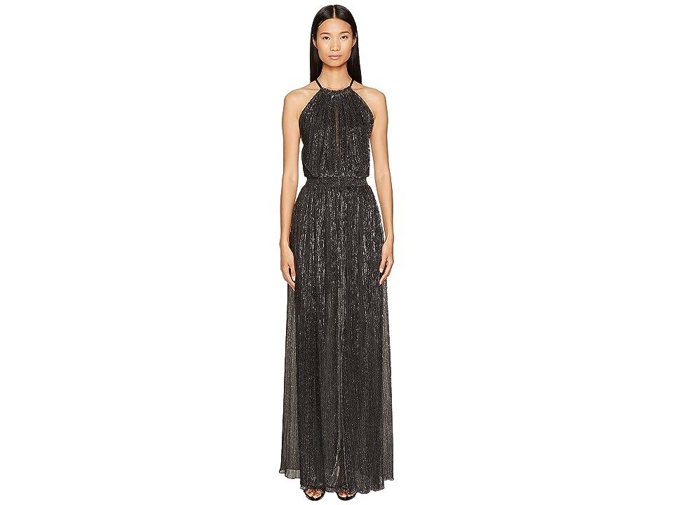 Just Cavalli Halter Sheer Long Dress (Black) Women