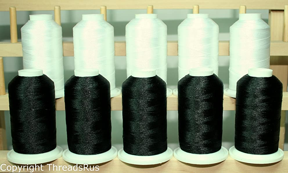 ThreadNanny Black and White Cones 1100yards 40wt Poly Machine Embroidery Threads from