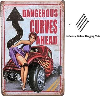 UNiQ Designs Dangerous Curves Ahead Garage Decor Tin sign - Perfect Vintage Airplane Decor Metal Sign or Retro Vintage Airplane Poster Wall  or Garage Funny Beer Art 12 x 8