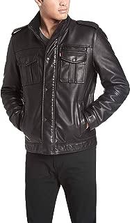 Men's Vintage Deer Faux Leather Sherpa Military Jacket Big & Tall