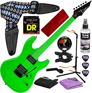 Dean Custom Zone 2 HB Solid Body Electric Guitar, Fluorescent Green with Guitar Stand & Deluxe Accessory Bundle