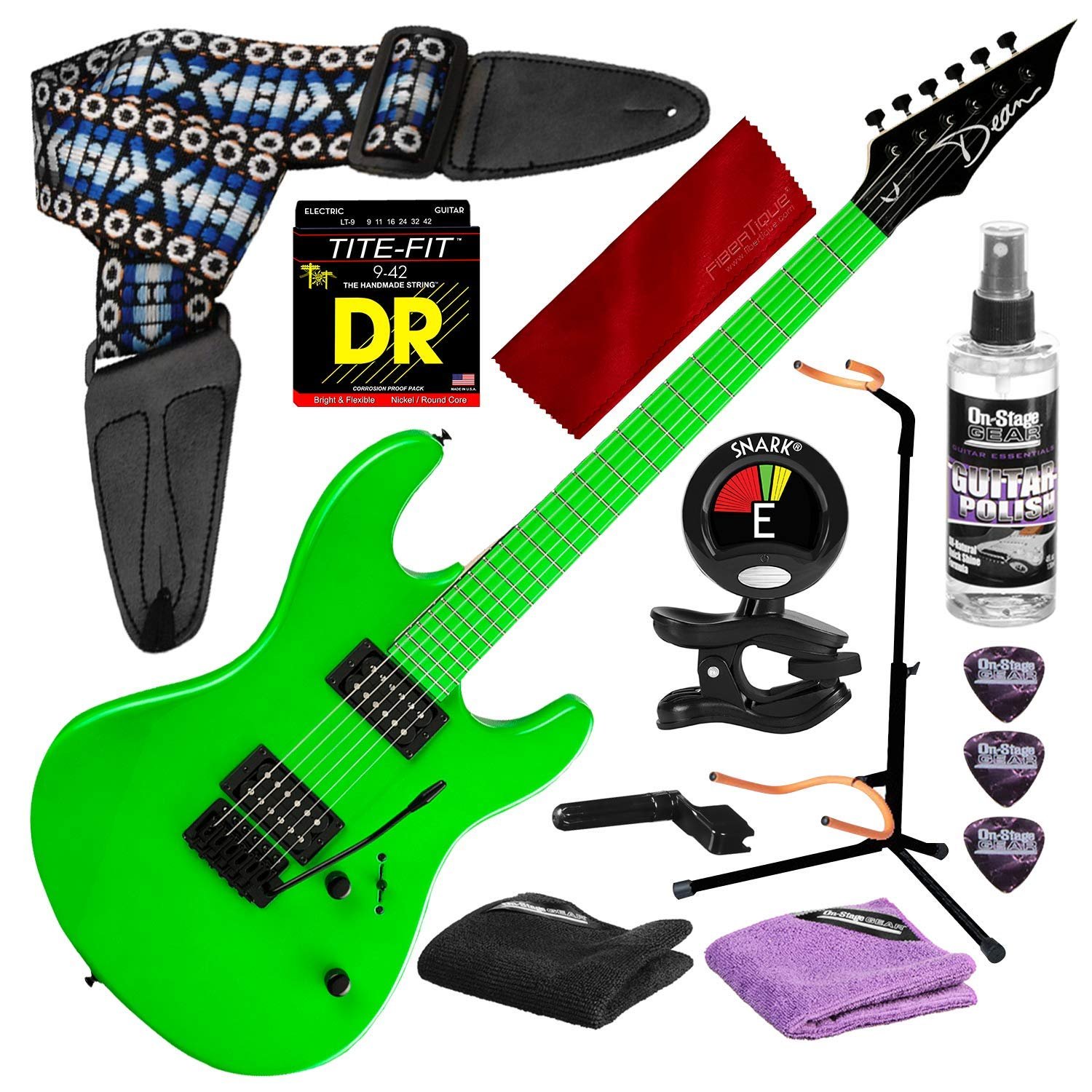 Cheap Dean Custom Zone 2 HB Solid Body Electric Guitar Fluorescent Green with Guitar Stand & Deluxe Accessory Bundle Black Friday & Cyber Monday 2019