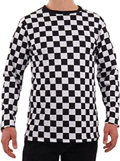 Men's RAD 80's Checkered Long Sleeve Shirt Black and White