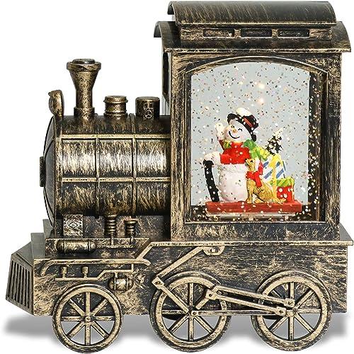 wholesale Eldnacele Singing sale Christmas Train Snow Globe outlet online sale Snowman sale