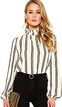 ROMWE Women's Elegant Printed Stand Collar Workwear Blouse Top Shirts