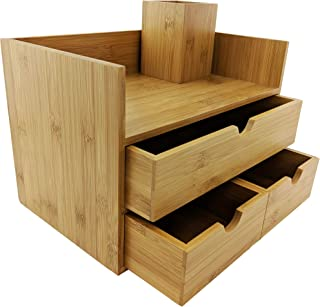 $39 » Sherwood & Co. 3-Tier Bamboo Desk Organizer with Drawers - Perfect for Desk Office Supplies, Vanity, Kitchen and Home or Office Tabletop with Bonus Pen Pencil Holder