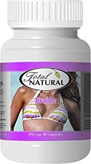 Braide 450mg 90c [5 Bottles] by Total Natural, Promote Breast Cell, Increase Breast Size, Support Breast Health, All-Natural Herbal Extracts for Women Health Care, GMP Premium Ingredients