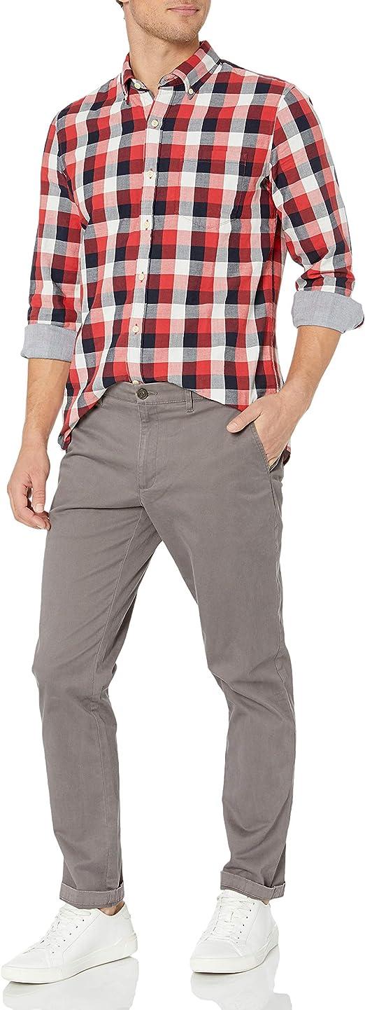 Marca Amazon - Goodthreads – Camisa reversible de manga larga y corte estándar para hombre