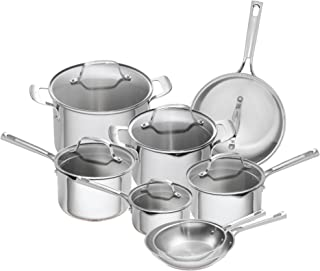 Emeril Lagasse 14 Piece Stainless Steel Cookware Set With Copper Core, Induction Compatible, Dishwasher Safe, Silver