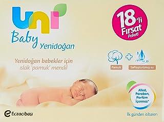 Uni Baby Yenidoğan Islak Pamuk Mendil, 18'li