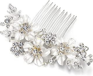 Clearine Women's Wedding Bridal Crystal Enamel Hibiscus Flower Hair Comb Clear Silver Tone