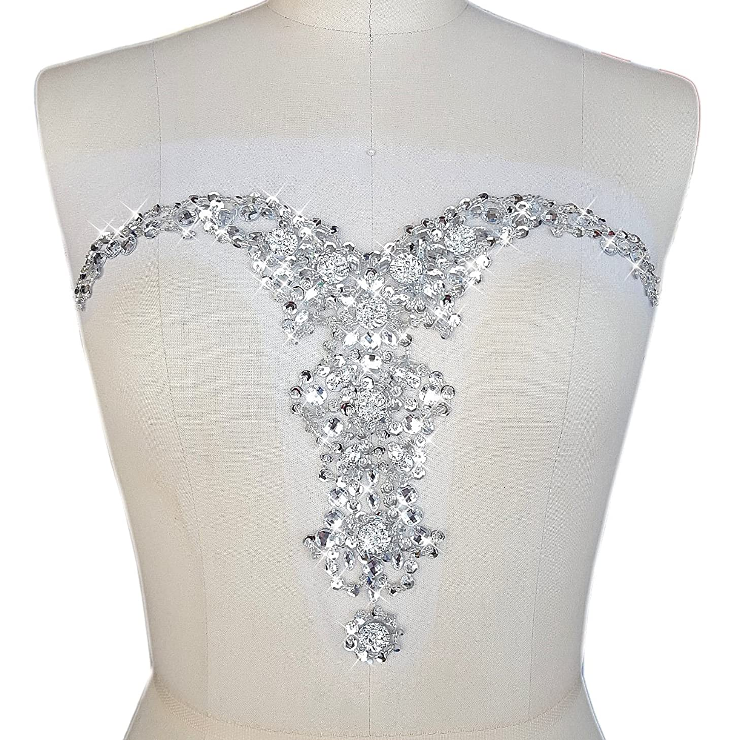 Sparkle Elegant Handcrafted Crystals V Neck Color Rhinestones Sew on Applique Bridal Belt Wedding Beaded Patch DIY for Women Gown Evening Prom Clothes Decoration (Silver)