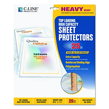 C-Line High Capacity Top Loading Heavyweight Poly Sheet Protectors, Clear, 8.5 x 11 Inches, 25 per Box (62020)
