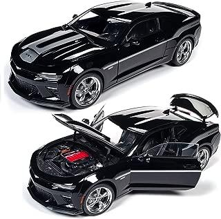 Autoworld AW254 2018 Chevrolet Camaro Coupe (Yenko) Mosaic Black w/Silver Stripes Diecast Car 1:18