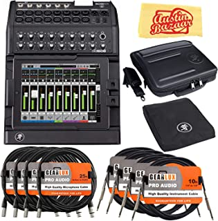 Mackie DL1608 16-Channel Digital Mixer Bundle with Gig Bag, Cover, XLR Cables, Instrument Cables, and Austin Bazaar Polishing Cloth