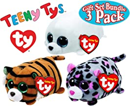 TY Teeny Tys Slippery (Seal), Tiggy (Tiger) & Miles (Leopard) Gift Set Bundle - 3 Pack