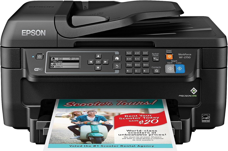 Epson WF-2750 All-in-One Wireless Color Printer with Scanner, Copier Fax, Amazon Dash Replenishment Ready