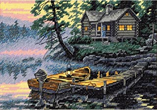Dimensions D65091 | Morning Lake Picture Counted Cross Stitch Kit | 18 x 13cm