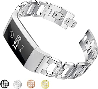 Taolla Compatible with Fitbit Charge 3 Bands Women, Elegant Stainless Steel Metal Replacement Bracelet Wristband D-Link Sport Smart Watch Strap + Bling Crystal Rhinestone Diamond for Fitbit Charge 3