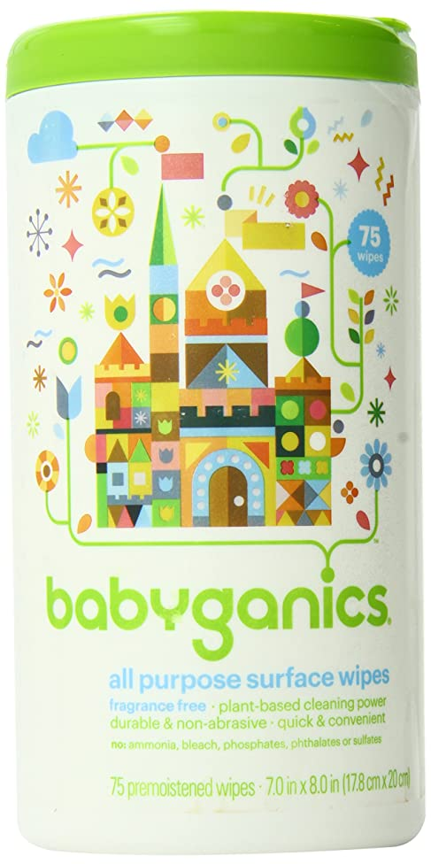 Babyganics All-Purpose Surface Wipes, Fragrance Free, 75 Count Canister