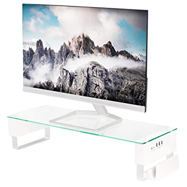 VIVO Tempered Glass Surface, Smart Computer Monitor and Laptop Riser Stand with USB Hub Audio Ports STAND-V000U