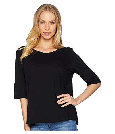 Michael Stars Supima(r) Cotton Slub Elbow Sleeve Swing Tee (Black) Women