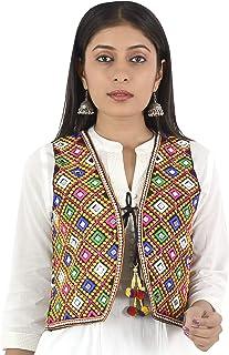 Trendish Women's Kutchi Mirror Work Embroidery Work Jacket (Black_Medium Size,Bust Size Upto 36 Inches)