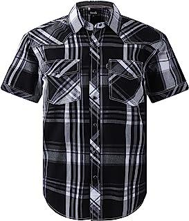 Men's Western Snap Casual Shirt Two Pocket Short Sleeve Shirt