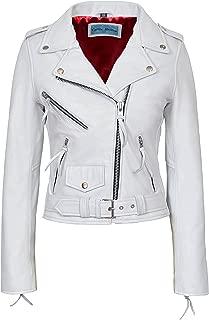 Smart Range New MBF Brando Women White Cool Classic Motorcycle Biker NAPA Real Leather Jacket