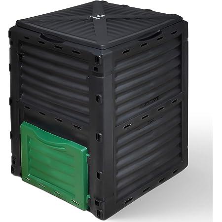 VOUNOT Composteur de Jardin 300L Qualité Supérieure Bac Composteur pour Jardin Déchets Bac à Composte en Polypropylène Résistant aux Chocs et aux UV Noir Vert
