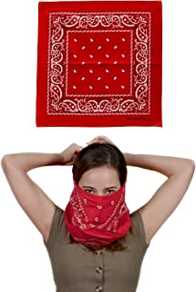 Fun Central 12 Pack Red Bandana | Face Mask for Dust & Sun Protection | Nose Cover Scarf
