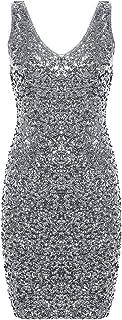 PrettyGuide Women's Sexy Deep V Neck Sequin Glitter...