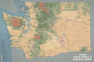 Best Maps Ever Washington State Parks & Federal Lands Map 24x36 Poster (Camel & Slate Blue)