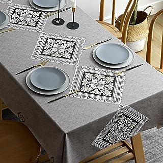 Nappe Enduite Rectangulaire, DECMAY Nappe Imperméable de Table, 140 x 220cm PVC Nappe, Lavable Entretien Facile Nappe, pou...