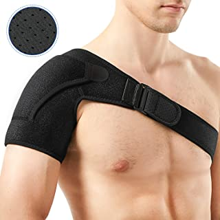Shoulder Support Brace, PKSTONE Breathable Neoprene Shoulder Brace for Torn Rotator Cuff, AC Joint Dislocation, Sprains, Tendonitis, Shoulder Pain