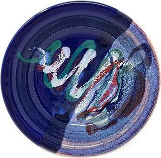 Larrabee Ceramics 8.5-inch Shallow Pasta Bowl, Mauve/Cobalt