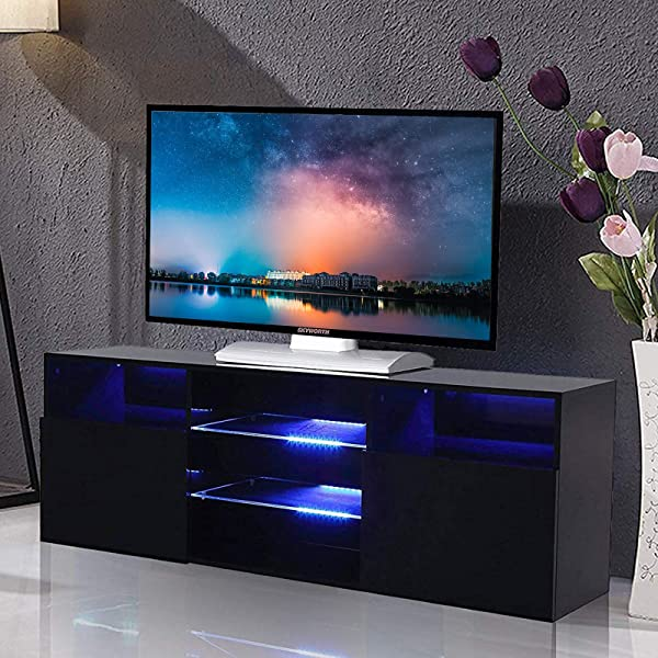 Mecor High Gloss TV Stand With LED Lights Modern Black TV Stand For 58 Inch TV Console Storage Cabinet With 3 Layers 2 Doors And Open Shelf