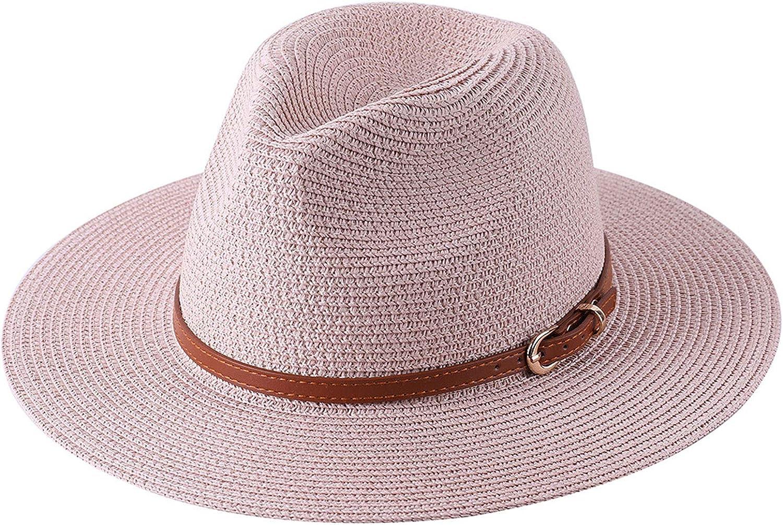 Women Fedora Sun Hat, Summer Wide Brim Panama Straw Beach Hat with Leather Belt