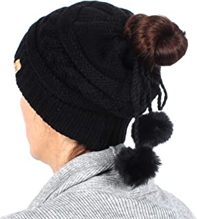 MIRMARU Women's Adjustable Soft Cable Knit Slinky Ponytail Beanie Hat, Convertible to Snood
