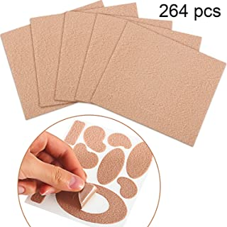 Chuangdi 264 Pieces Moleskin Tape Flannel Adhesive Pads Moleskin for Feet Fabric Padding Variety 24 Sheets, 11 Pieces Various Shapes Each Sheet