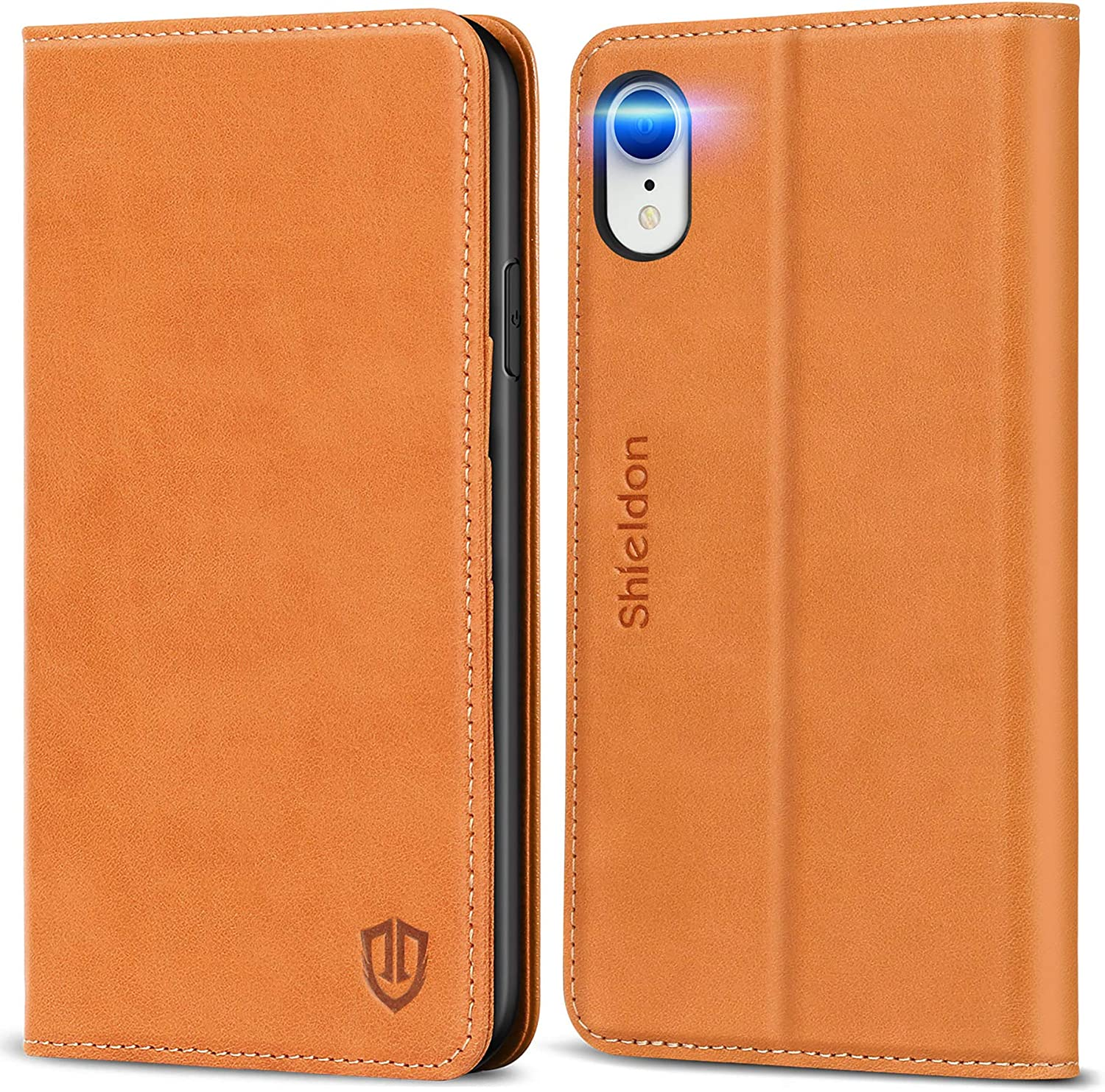 SHIELDON iPhone XR Case, Genuine Leather iPhone XR Folio Wallet Magnetic Protective Case Shock Absorbing RFID Blocking Card Holder Kickstand Compatible with iPhone XR (6.1 inch) - Brown