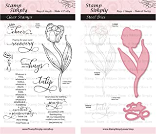 Stamp Simply Clear Stamps Get Well Soon Tulip Garden Flower and Die Christian Religious (2-Pack) 4x6 Inch Sheets - 10 Pieces