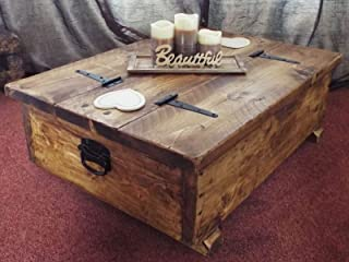 Mesa de centro con almacenamiento, con tablón de madera rú