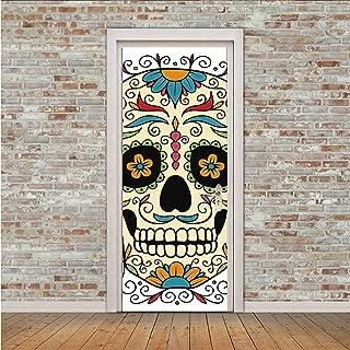 YOLIYANA Sugar Skull Decor Unique Door Sticker,Catrina Calavera Featured Figure Ornaments Macabre Remember The Dead Decorative for Door,30″ W x 78″ H