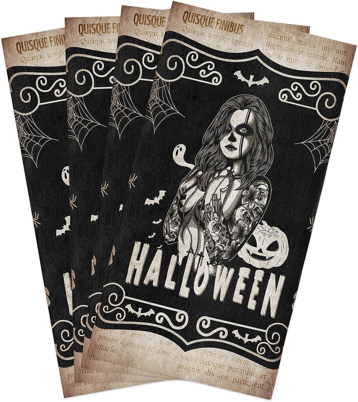 Halloween Kitchen Towels Set Columbus Mall Skull Girl Tattoo Dish Towel with Very popular P