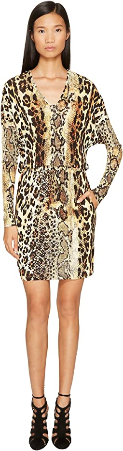 Just Cavalli - Long Sleeve V-Neck Mixed Animal Print Jersey Dress