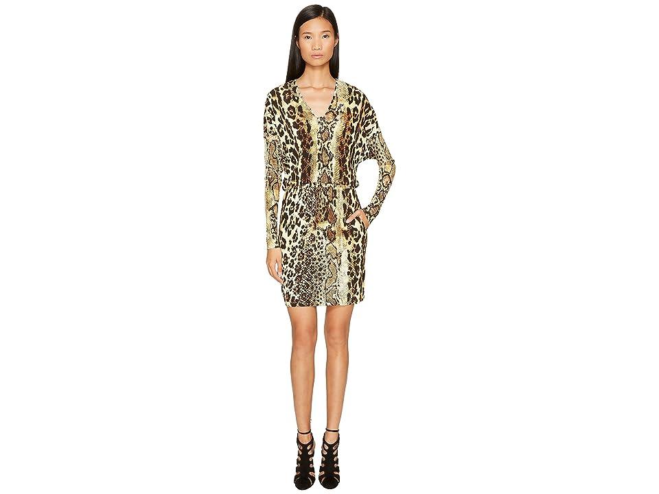 Just Cavalli Long Sleeve V-Neck Mixed Animal Print Jersey Dress (Natural) Women
